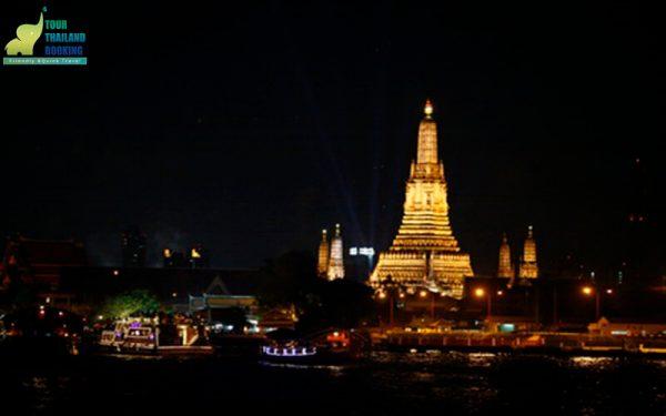 riverside seafood cruise Bangkok วัดอรุณยามค่ำ